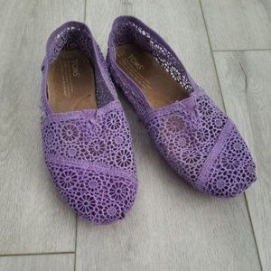 Toms Purple Crochet Slip On Shoes Size 7.5